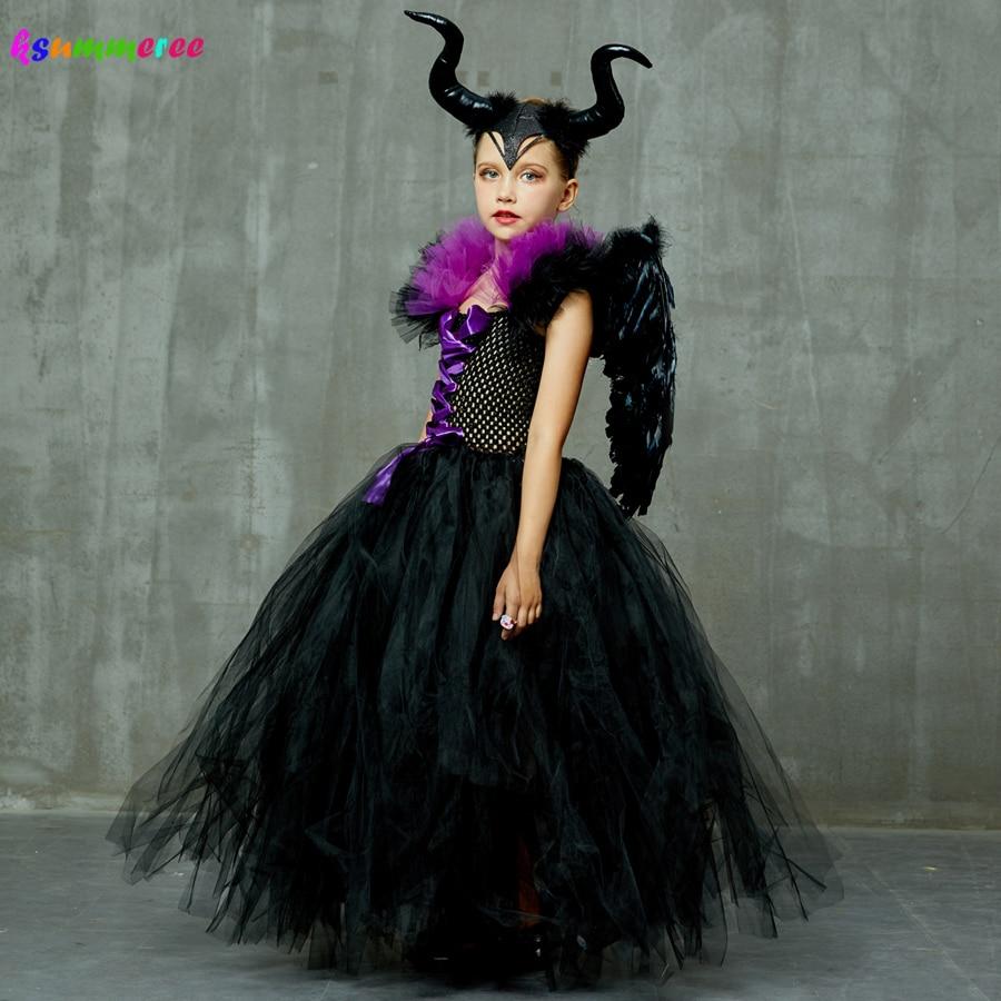 Kids Maleficent Evil Queen Girls Halloween Fancy Tutu Dress Costume Children Christening Dress Up Black Gown Villain Clothes 1