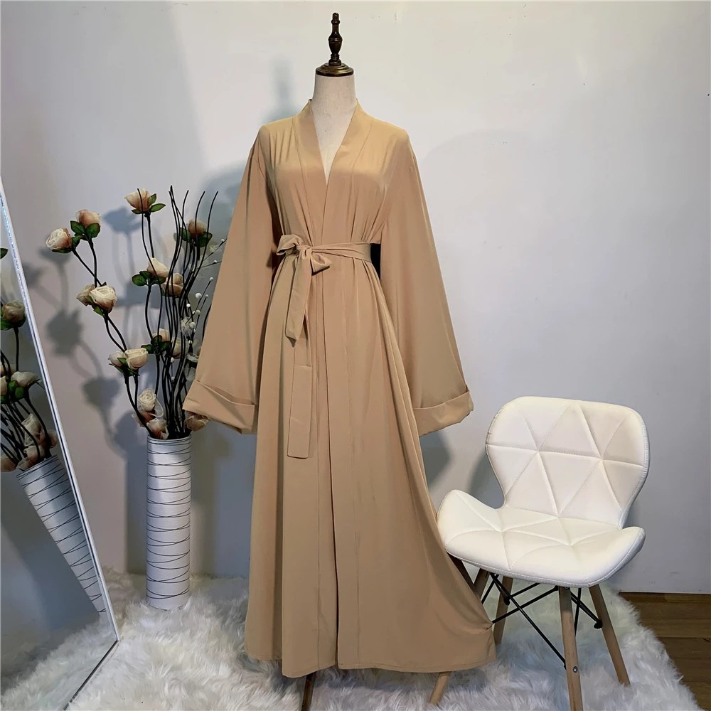 Hot Sell Simple muslim Dress Smooth Silky Elegant pure color Long Muslim Dresses Women Modest Wear Clothing EID robes F2078