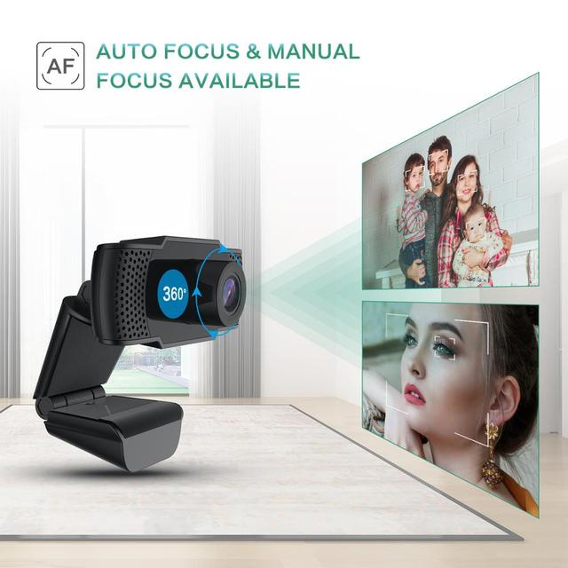 BENTOBEN HD 1080P Webcam with Microphone Auto Focus Video Record WebCamera for PC Gamer Streaming YouTube Conference Work 3