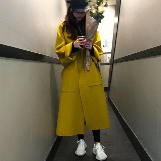 Femmes laine manteau grande taille longue vêtements dextérieur 2020 automne Wnew épais chaud jaune hiver manteau femmes corée haute qualité laine veste