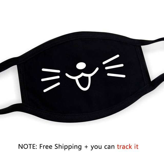 Black Unisex Cartoon Cat Funny Expression Face Mask Cotton Breathable Mouth Mask Anti-dust Pollution Masks Woman Man Reusable 2