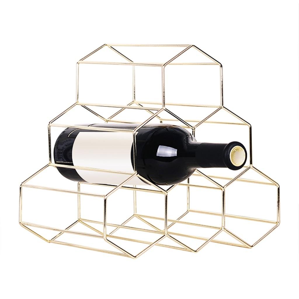 Honeycomb Metal Wine Rack Bar Decoration Countertop Metal Wine Rack 6 Bottles Wine Storage Holder Space Wines Storage Rack