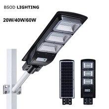 BSOD светодиодный уличный фонарь на солнечной батарее 20 Вт 40 Вт 60 Вт с датчиком движения IP65 Водонепроницаемый светодиодный светильник SMD2835 светодиодный чип