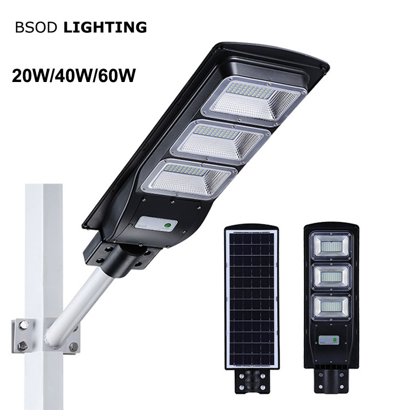 BSOD Led  Solar Street Light 20W 40W 60W With Motion Sensor IP65 Waterproof LED Outdoor Light  SMD2835 Led Chip