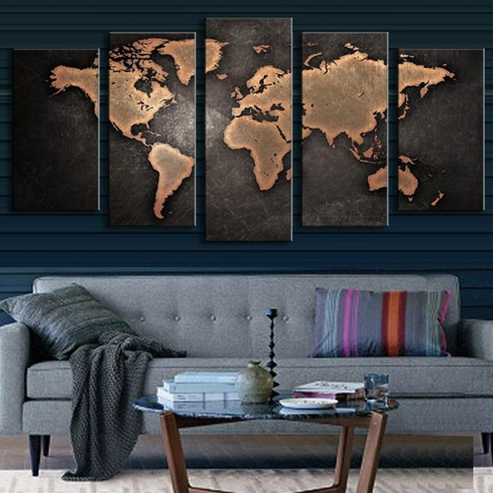 Pictures Paint By Number Oil Painting 2017 NEW World Map Joint Canvas 5Pcs/Set Art DIY Home Decoration Gift