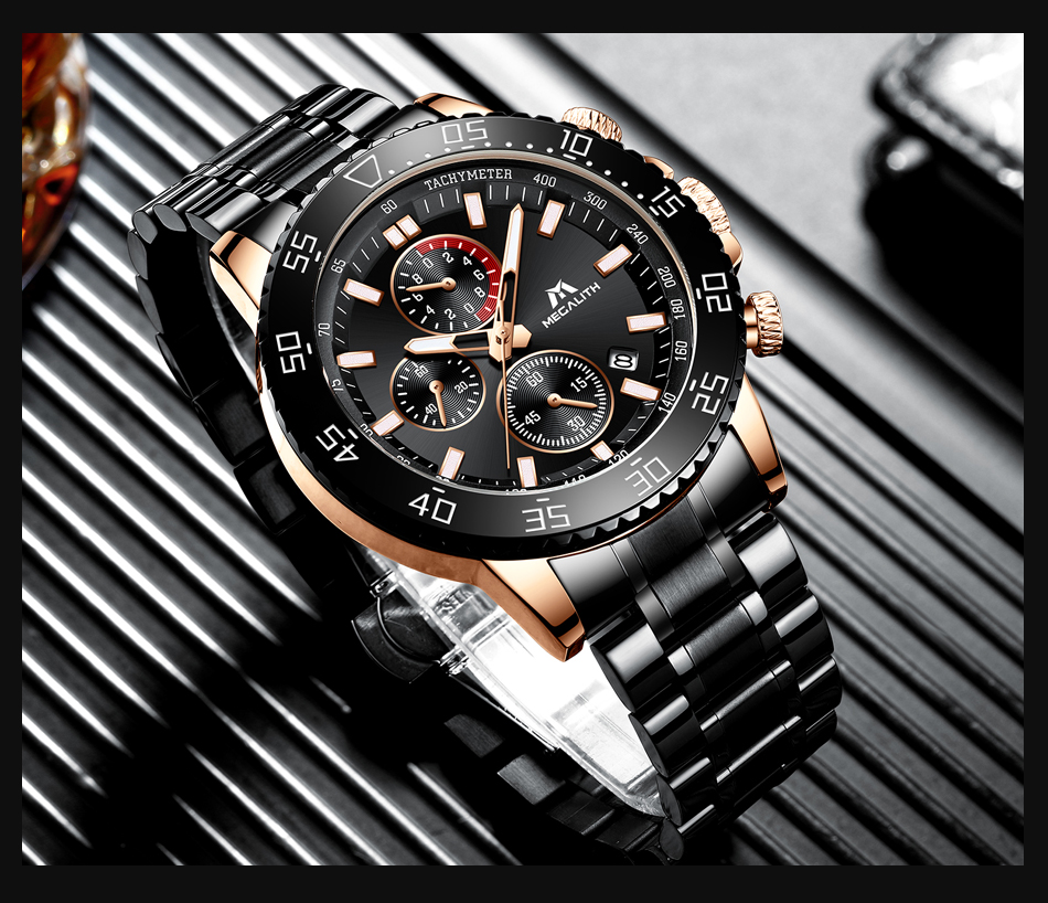 H619d0d92456f4e40a0ff11e2ddee546eQ MEGALITH Military Watches Men Stainless Steel Band Waterproof Quartz Wristwatch Chronograph Clock Male Fashion Sports Watch 8087