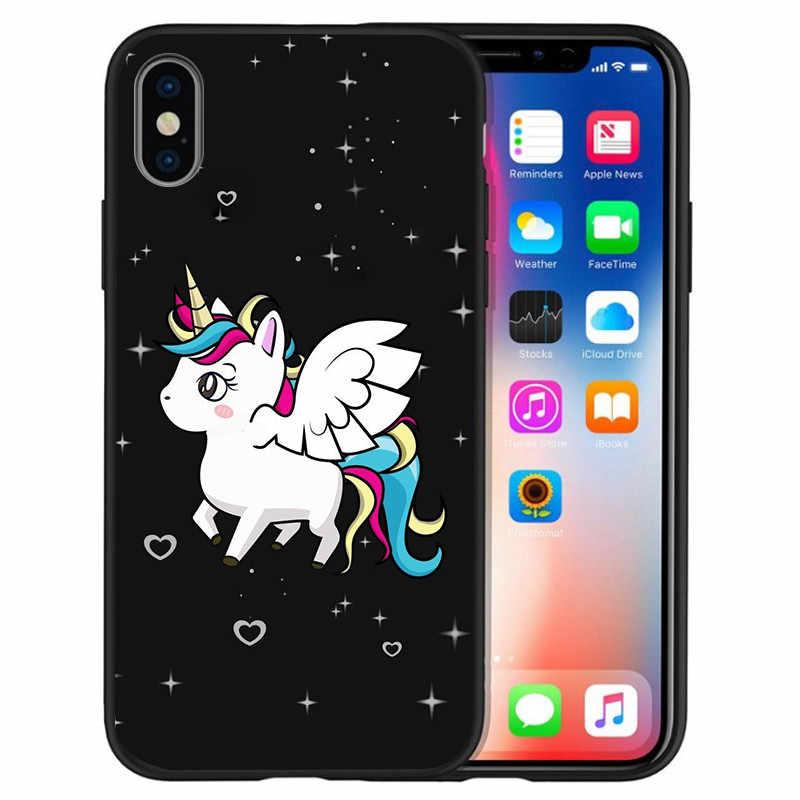 Роскошный стежок Микки Единорог цветочный для iPhone X XR XS Max 5 5S SE 6 6S 7 8 Plus чехол для телефона Funda Coque Etui милый