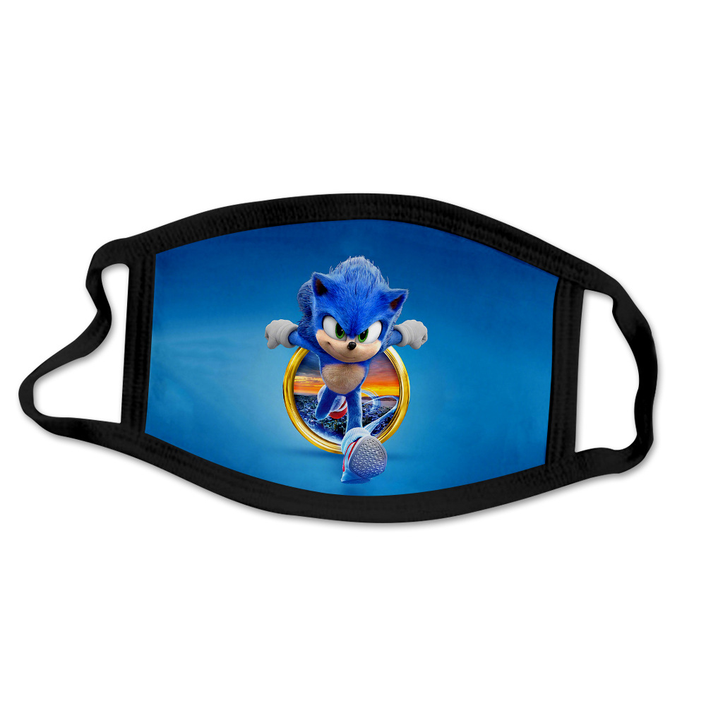 Sonic The Hedgehog Mask Windproof And Dustproof 3D Printing Washable Cartoon Mask For Children And Adults Cosplay Mask