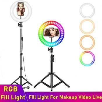 Anillo De Luz Led Universal RGB Para selfis lámpara RGB regulable Para fotografía con trípode Para maquillaje, vídeo en vivo, Aro De Luz Para móvil