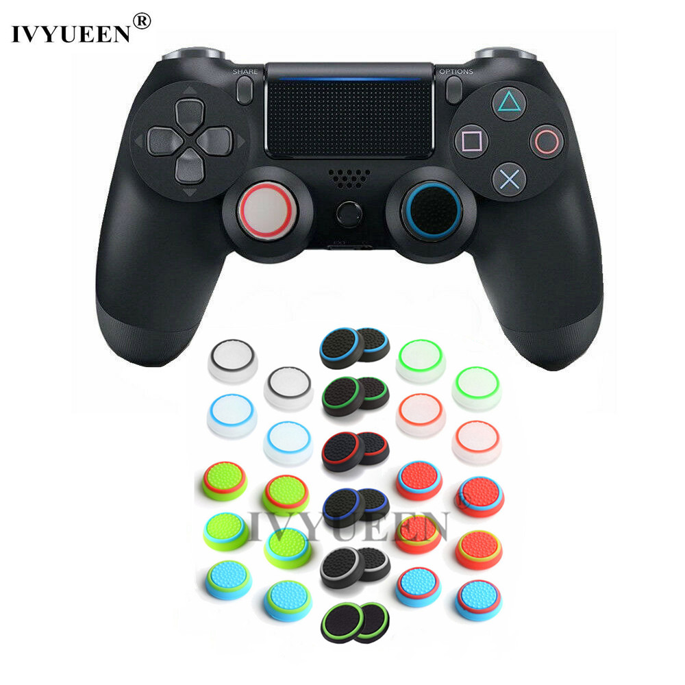 IVYUEEN 4 Pcs Silicone Analog Thumb Stick Grips Cap Cover For Dualshock 4 PS4 PRO Slim Controller Caps For Xbox 360 One