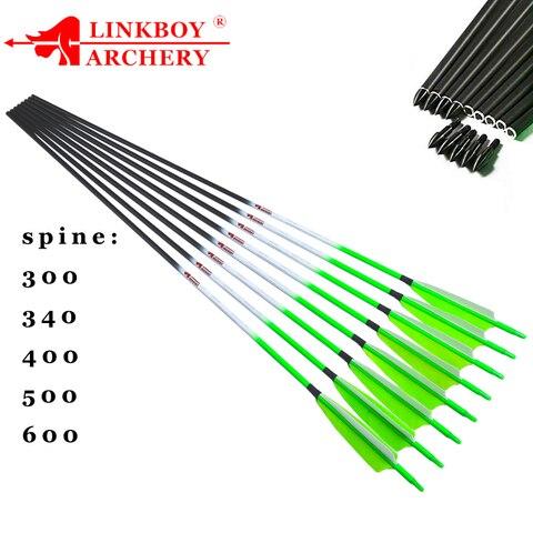 6 pcs linkboy tiro com arco seta de carbono puro espinha 300 600 id6 2mm