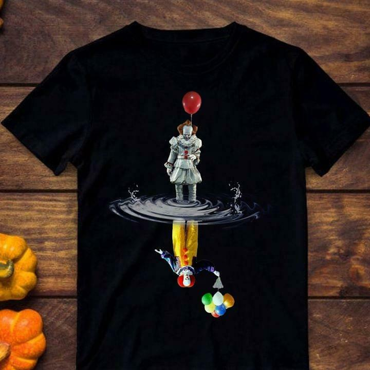Pennywise It Clown Shadows Balloons Halloween Black T-Shirt