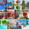 HUACAN Picture By Numbers Landscape Acrylic Drawing Canvas Wall Art Oil Painting By Number Sea DIY Home Decoration Gift