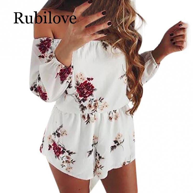 Rubilove Fashion Floral Printed Rompers Women Summer Long Sleeve Off Shoulder Boho Beach Jumpsuit Ladies Elegant One Piece Plays