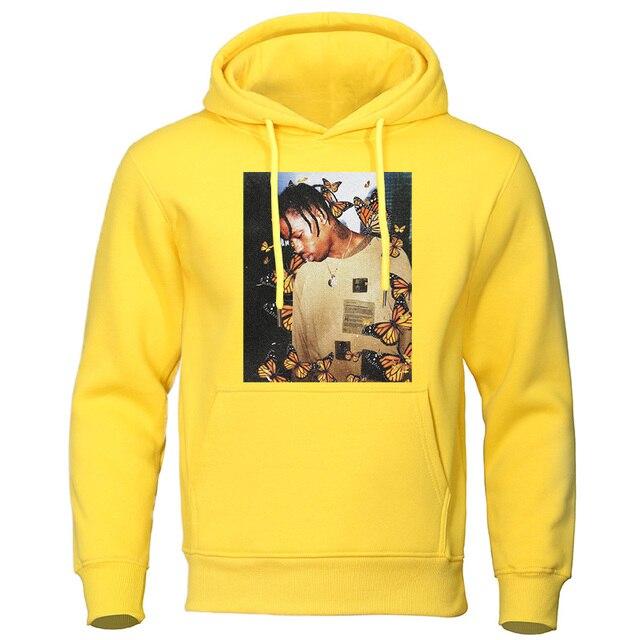 2020 Autumn Winter Men's Hoodies Travis Scott Butterfly Fashion Tracksuit Effect Rap Music Sweatshirts Man Pullover Hip Hop Tops