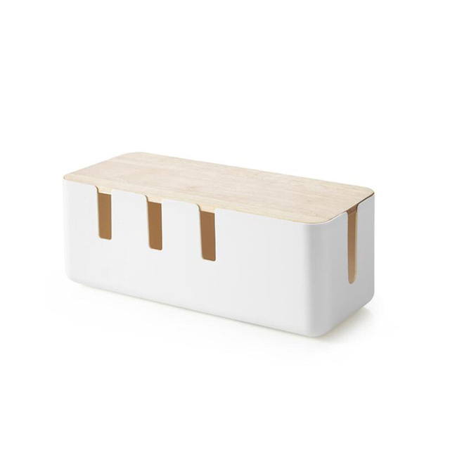 Wood Cable Storage Box Power Strip Wire Case Anti Dust Charger Socket Organizer