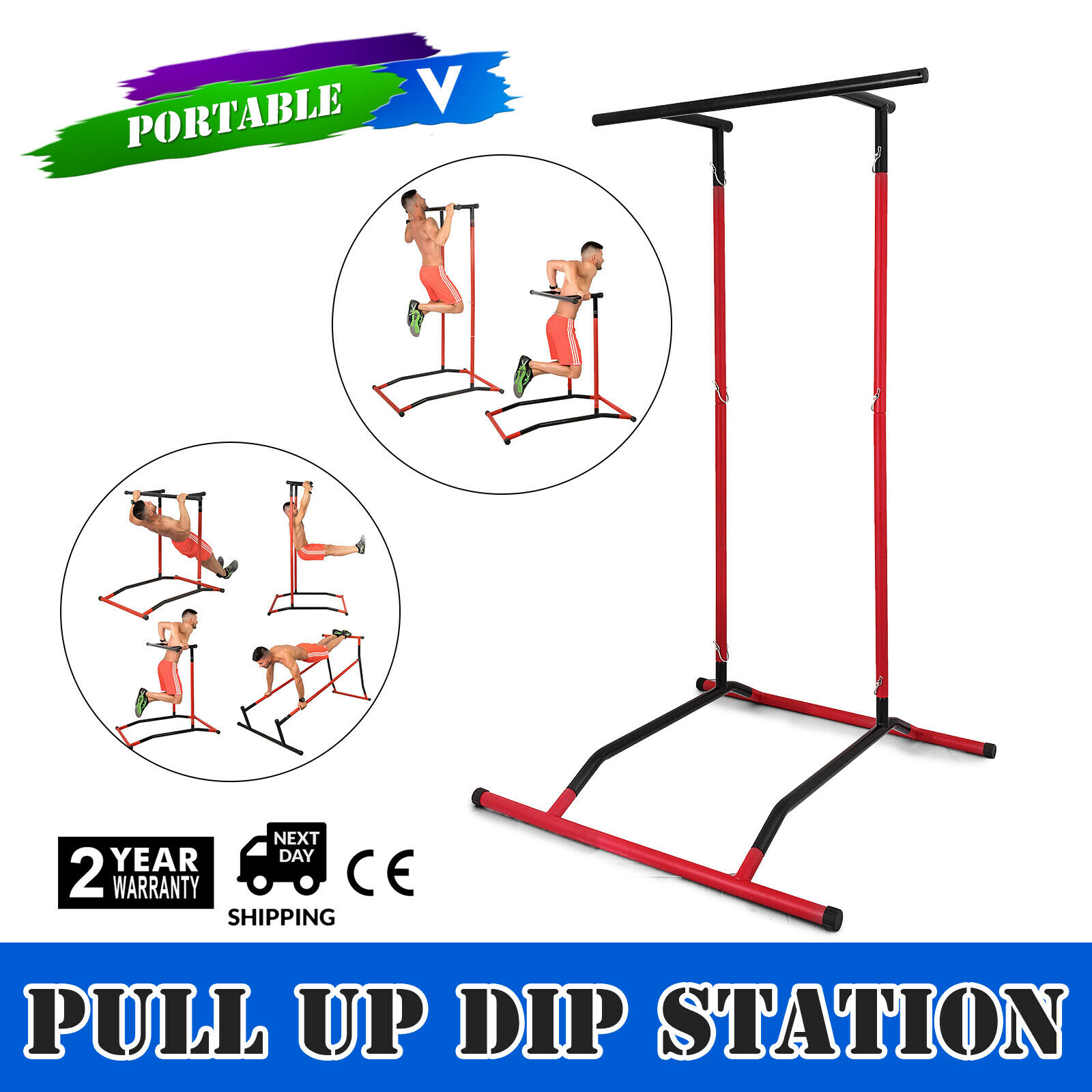 Pull Up DIP Station Power Tower Gymnastics Bar Multi Function