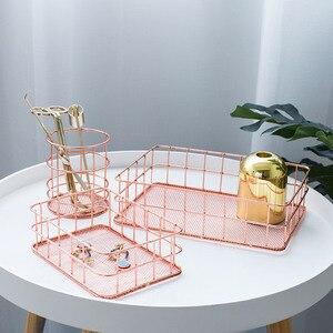 Image 2 - Nordic Rose Gold Metal Wire Storage Basket Office Desktop Sundries Makeup Brushes Holder Table Cosmetics Organizer Iron Basket