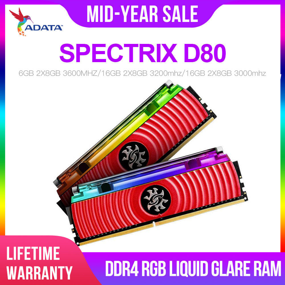 ADATA XPG D80 16GB 3000Mhz 3200MHZ 3600MHZ PC Memory RAM Memoria Module 2X8GB Dual-channel DDR4 Memory PC4 Desktop DIMM