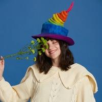 Cute Handmade Rainbow Wool Caps Christmas Gift Birthday Gift Women Vintage Magic Hats Female Fashion Autumn Winter Party Cap New