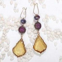 Geometric Tassel Long Dangle Earrings Women Bijoux Purple Yellow Crystal Drop Earrings Party Fashion Jewelry цена и фото