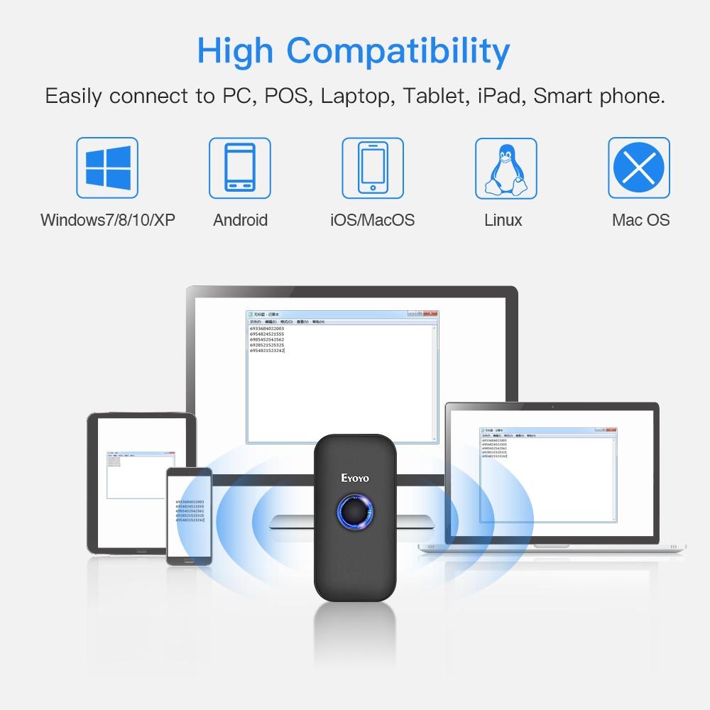 Eyoyo EY-009L мини 3-в-1 Bluetooth USB Проводная И Беспроводной 1D сканер штрих-кода Портативный считыватель штрих-кода для Windows iOS и Android iPad
