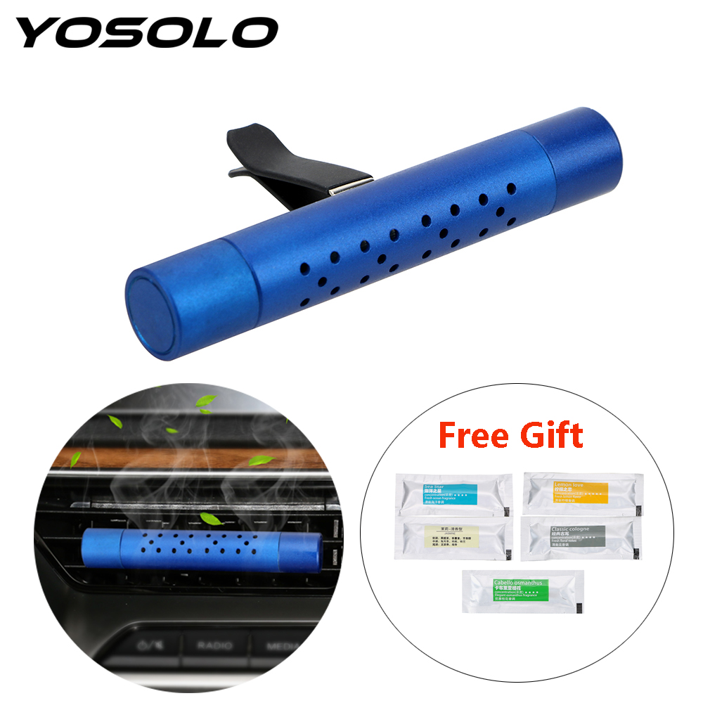 YOSOLO Air Outlet Aromatherapy Clip With 5 Free Aroma Sticks Car Air Freshener Car Outlet Perfume Solid Perfume Diffuser