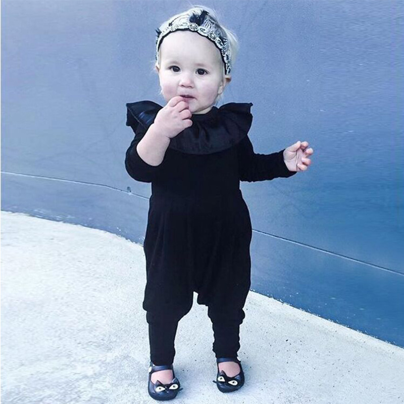 Newborn Girl   Romper   Clothes Autumn Winter Ruffle Floral Baby   Rompers   For Girl Black Infant Jumpsuit Toddler Girl Onesie Outsuit