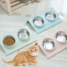 Feeding Dishes Food Water Feeder Double Pet Bowls Stainless Steel for Dog Puppy Cats Pets Supplies For Pet Cat Dogs pets teeth cleaning tools double sided dogs cats tartar remover dental stones stainless steel scraper pet supplies 30