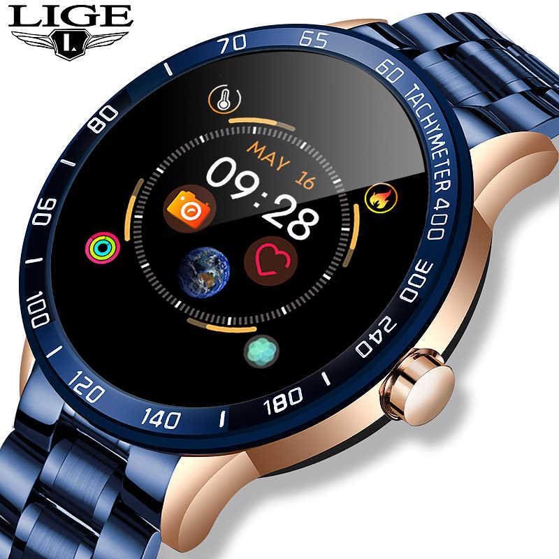 LIGE yeni erkek akıllı saat erkekler su geçirmez spor iPhone nabız monitörü kan basıncı fonksiyonu smartwatch spor izci