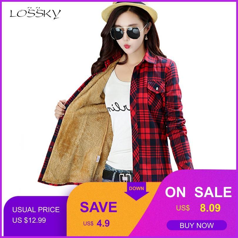 Women Winter Keep Warm Cotton Plaid Blouse Fashion Long Sleeve Turn-down Collar Pocket Velvet 2018 Shirt Tops Blusas Feminina