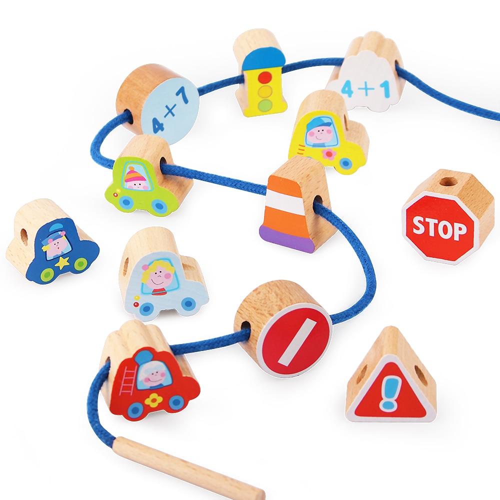 12PCS Wooden Beaded Toys Car / Fruit / Animal / Fish Exercise Hand-eye Coordination Baby Child Toys Free Shipping