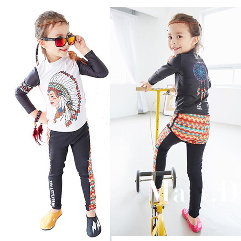 New Style Korean-style KID'S Swimwear Digital Printing Indian Ethnic-Style Split Type Three-piece Set Medium-small GIRL'S Swimsu