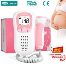 Cofoe detector de batimento cardíaco, detector de batimento cardíaco fetal portátil para cuidados com o bebê, medidor de pulso fetal grávida sem estetoscópio de radiação