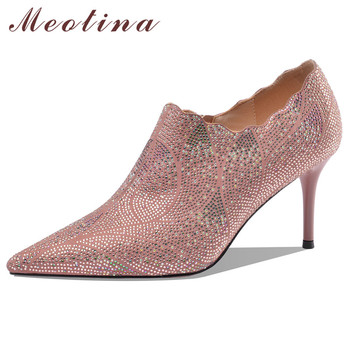 Meotina High Heels Women Pumps Kid Suede Zip Stiletto High Heel Party Shoes Real Leather Rhinestone Pointed Toe Shoes Ladies 40