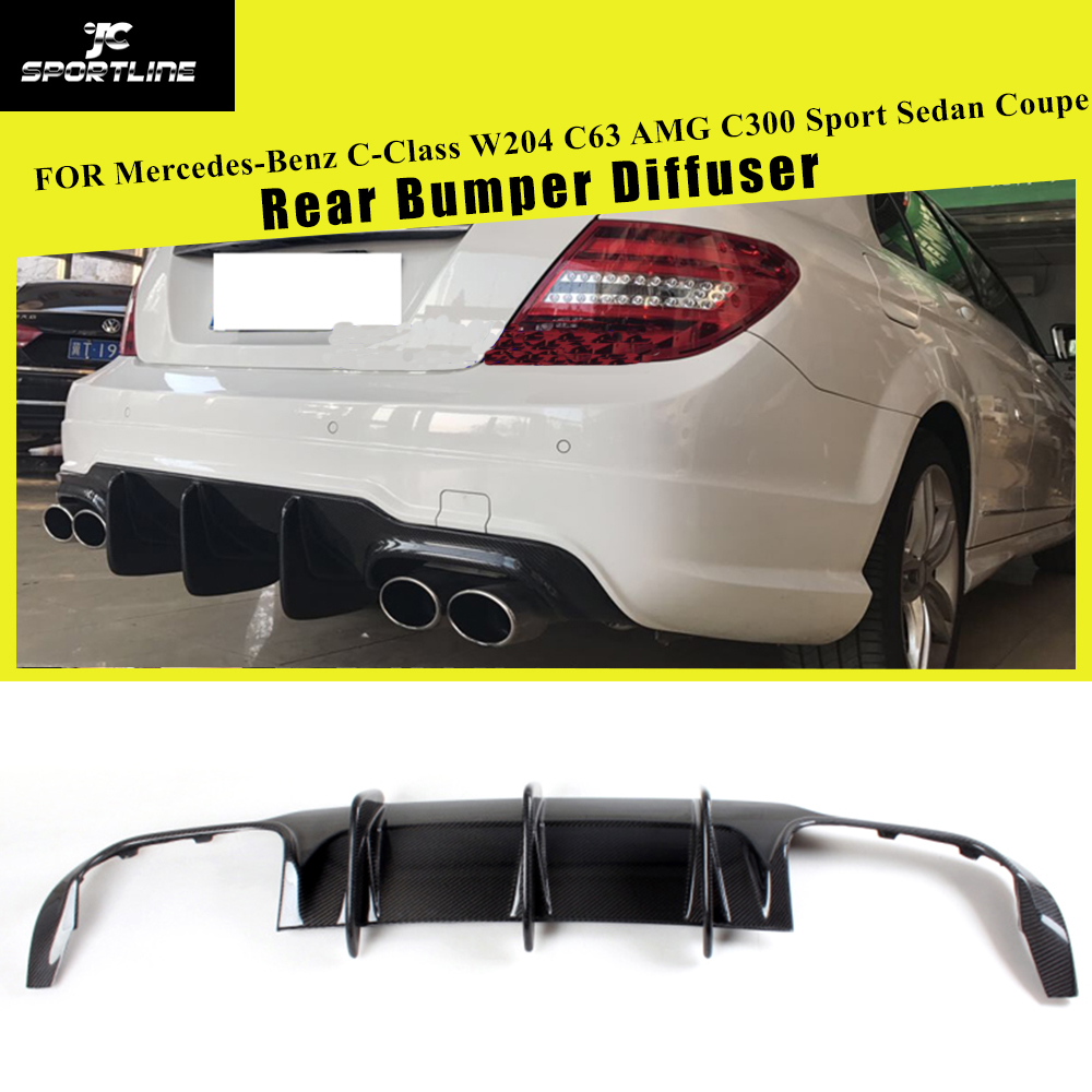 Rear Bumper Diffuser Lip Spoiler for Mercedes-Benz C-Class W204 C63 AMG C300 Sport Sedan Coupe 2009 - 2014 Carbon Fiber / FRP