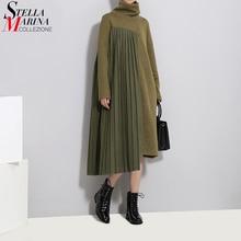 Новинка, Осень-зима, женское длинное зеленое плиссированное платье-свитер, пэчворк, длинный рукав, водолазка, женское Повседневное платье, халат, стиль 3031