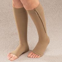 Women Zipper Compression Socks Zip Leg Support Knee Sox Open Toe Sock S/M/XL Winter Warm Unisex