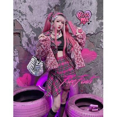 Лидер продаж, Y2k японский Топ с длинным рукавом в стиле Харадзюку для девушек, асимметричная юбка в стиле пэчворк, осенняя мода, милый костюм ...
