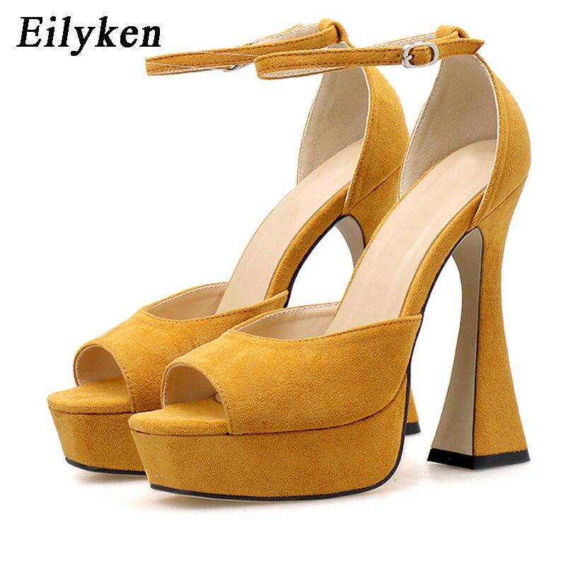 Eilyken 2020 Summer Concise Flock Strange Heels Women Sexy Ankle Buckle Strap Platform Shoes New Design Peep Toe Sandal Femme