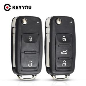 KEYYOU Remote Key Case Shell For VW Volkswagen Skoda Octavia Golf Mk6 Tiguan Polo Passat CC SEAT Replacement 2/3 Buttons