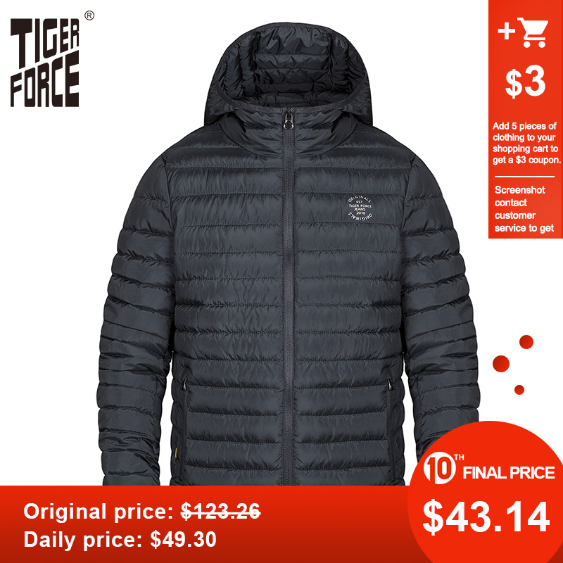 Tiger Force Men Spring Jacket Thick Parka Men's Solid Jacket Male Hooded Puffy Coat Casual Fashion Outerwear Clothes Plus Size