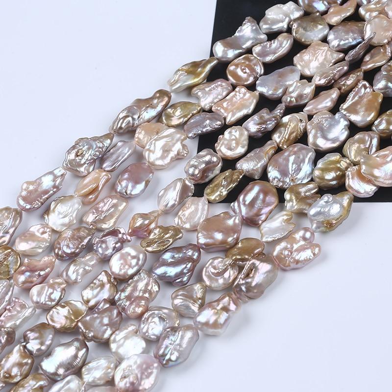 Keshi – perles d'eau douce, 13-16mm, couleur métallique naturelle, un peu rose et jaune