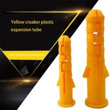 300 шт M6 пластиковые расширительные трубы желтые ребристые пластиковые анкерные настенные расширительные трубы Настенные пробки 6x40 мм