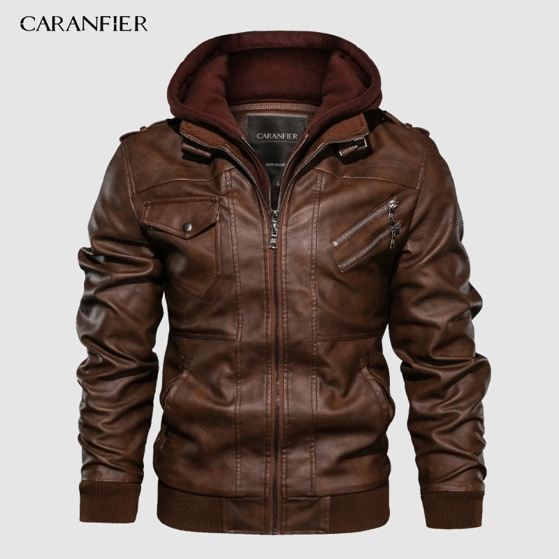 CARANFIER Mens PU Hooded Jackets Coats Motorcycle Biker Faux Leather Jacket Men Classic Winter Jackets Clothes  European Size