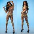 Эротическое белье леопардовой расцветки Нижнее белье размера плюс женская пикантная открытая промежность Ночная сорочка тела femme Тедди из ...