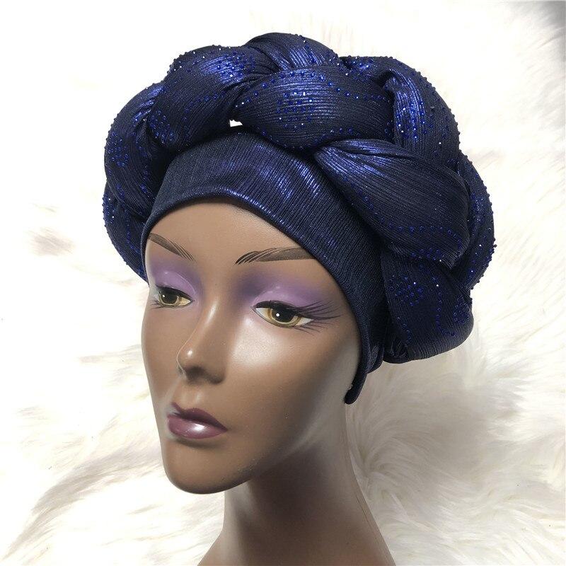Шапочки под хиджаб Aso Oke Gele, африканская шапка, головной убор, уже сделанный, головной убор Gele, Дамская шапка, Авто головной убор aso oke gele-AC30