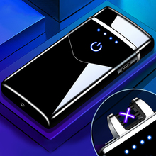 2020 Creative Dual Arc Plasma Electronic Lighter Smart Touch USB Rechargeable Lighter LED Battery Di