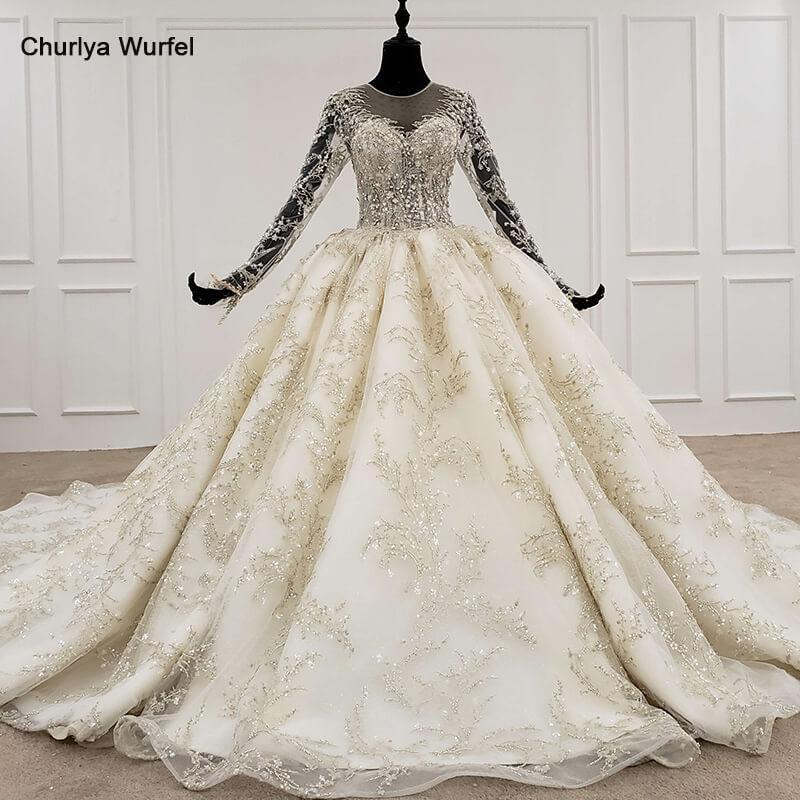 HTL1096 Luxury Bead Wedding Dress Long Sleeve Illusion O-neck Lace Wedding Gown With Bridal Veil Plus Size Vestito Da Sposa 2020