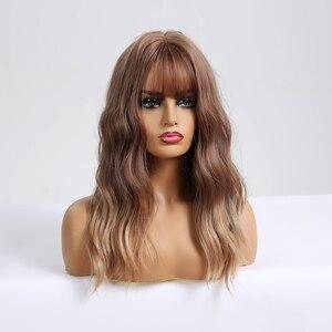 Image 4 - Cheveux synthétiques bruns, blonds et ombrés, pour femmes noires, perruque de Cosplay, vague moyenne, résistante à la chaleur, pour femmes noires